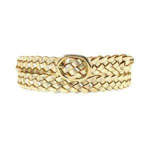 ANN TAYLOR Gold Metallic Leather Braided Belt L